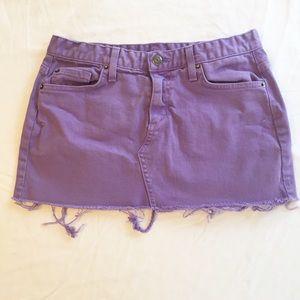 UO Purple Denim Cutoff Mini Skirt Size 2